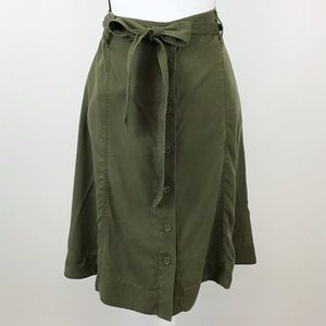 Talbots Olive Green Belted Button Front Skirt